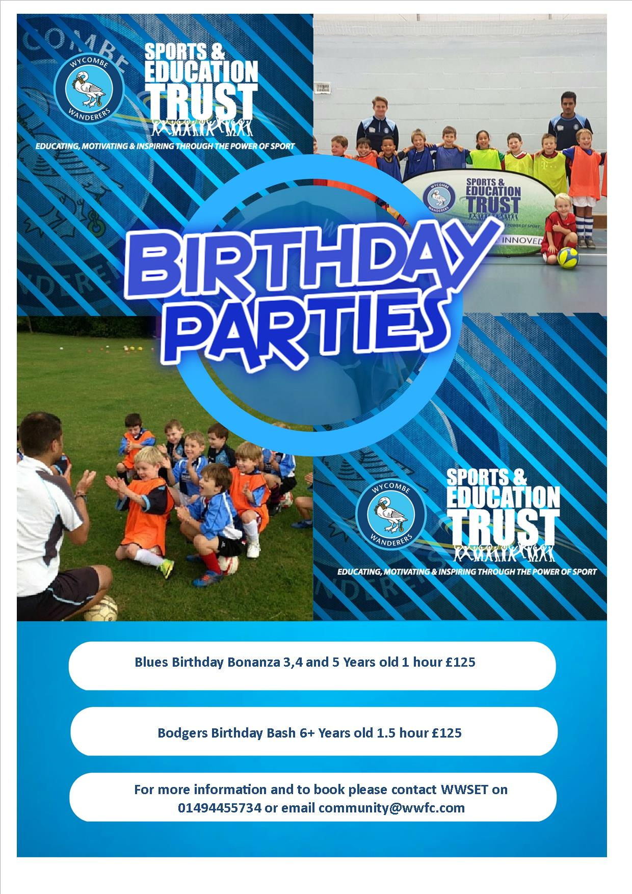 wycombe wanderers birthday parties flyer